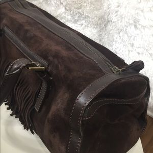 Burberry Suede Leather Fringe Bag Chocolate Brown